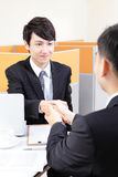 Portrait of successful businessman at the interview Royalty Free Stock Photos