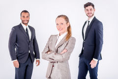 Portrait of a successful businessman. Three confident and succes Stock Photos