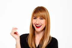 Portrait of successful businesswoman smiling over white background. Royalty Free Stock Photography