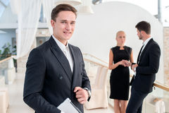 Portrait of a successful and confident businessman. Young man in Royalty Free Stock Photos