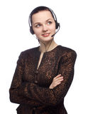 Portrait of a successful female. Call centre employee wearing a headset against white Royalty Free Stock Image