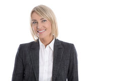 Portrait: Successful isolated older or mature blond businesswoman in blazer and white blouse. Portrait: Successful isolated older or mature blond business woman royalty free stock photos