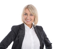 Portrait: Successful isolated older or mature blond businesswoman in blazer and white blouse. Portrait: Successful isolated older or mature blond business woman stock photography