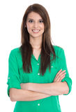 Portrait of successful student in green blouse isolated on white Stock Image