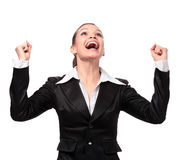 Portrait of successful winner celebrating Royalty Free Stock Photography