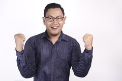 Surprised Happy Asian Man stock images