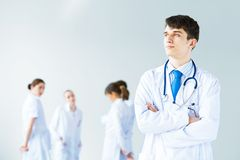 Portrait of successful young doctor Stock Photos