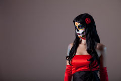 Portrait of sugar skull girl Stock Images
