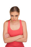 Portrait of a sulking woman on white background Stock Photo