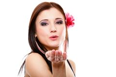 Portrait of summer girl blowing a kiss. Flirty Royalty Free Stock Photos