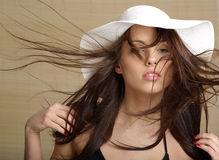 Portrait of summer woman. Glamour portrait of summer lady, bamboo background Stock Image