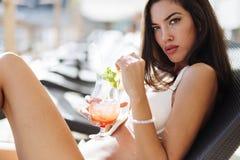 Portrait of sunbathing model Royalty Free Stock Image