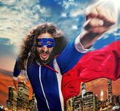 Portrait of a superhero wathcing over the city Royalty Free Stock Photos