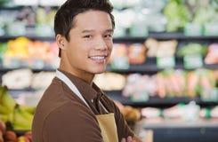 Portrait of a supermarket sales assistant Stock Image