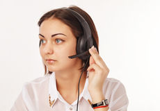 Portrait of a support phone operator Royalty Free Stock Image