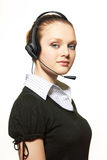 Portrait of support phone operator in headset Royalty Free Stock Image