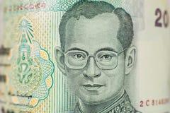 Portrait sur la facture de 20 bahts de Thaïlande images libres de droits