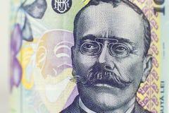 Portrait sur la facture roumaine de 100 Lei photos stock