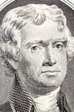 Portrait sur le macro de Thomas Jefferson du billet de deux dollars images libres de droits