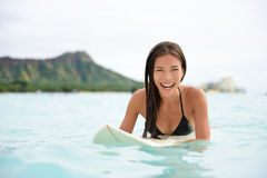 Portrait of surfer fun on Waikiki Beach Hawaii Royalty Free Stock Images