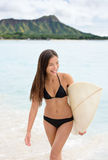 Portrait of surfer woman on Waikiki Beach Hawaii Stock Photos