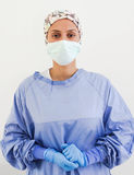Portrait of a surgeon with gloves and a mask Stock Photography