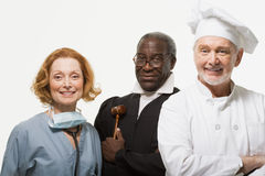 Portrait of a surgeon a judge and a chef Royalty Free Stock Photos