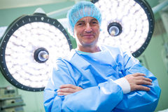 Portrait of surgeon standing with arms crossed in operation room. At the hospital Royalty Free Stock Photos