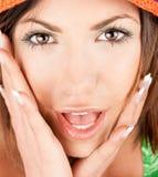 Portrait of a surprise beautiful caucasian woman stock photography