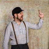 Portrait surprise man in shirt and suspenders Stock Photography