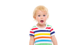Portrait of surprised baby in swimsuit Royalty Free Stock Photo