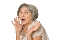 Portrait of surprised beautiful old woman Stock Images