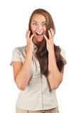 Portrait of surprised beautiful woman Royalty Free Stock Image