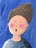 Portrait of surprised boy. Acrylic illustration of a surprised boy - Portrait royalty free illustration