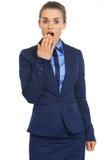 Portrait of surprised business woman Stock Photos