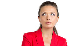 Portrait of surprised businesswoman in red suit Stock Image