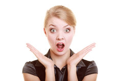Portrait of surprised businesswoman shocked woman Royalty Free Stock Photos