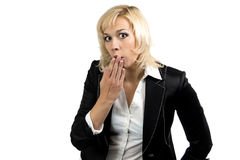Portrait of surprised businesswoman in suit Royalty Free Stock Photos