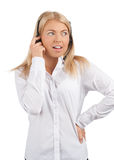 Portrait of a surprised call center employee Stock Photos
