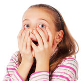 Portrait of a surprised child. On a white background Royalty Free Stock Images