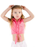 Portrait of surprised cute little girl isolated Royalty Free Stock Photography