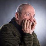 Portrait of surprised elderly man Royalty Free Stock Images