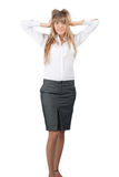 Portrait of surprised excited businesswoman Royalty Free Stock Images