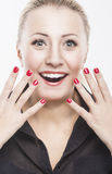 Portrait of Surprised Excited Caucasian Woman against Pure White Royalty Free Stock Photography