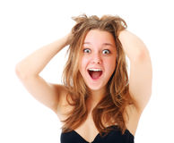 Portrait of surprised excited girl Stock Photography
