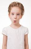 Portrait of surprised excited girl covering her mouth by the hand. Isolated on white background Royalty Free Stock Photos