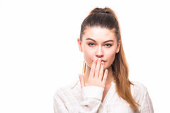 Portrait of surprised excited young business woman covering with hands her mouth Royalty Free Stock Photo