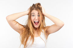 Portrait of surprised girl Stock Photos