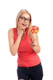 Portrait of surprised girl with big lollipop Royalty Free Stock Photo
