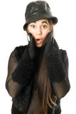 Portrait of surprised girl in gloves with claws Royalty Free Stock Photography